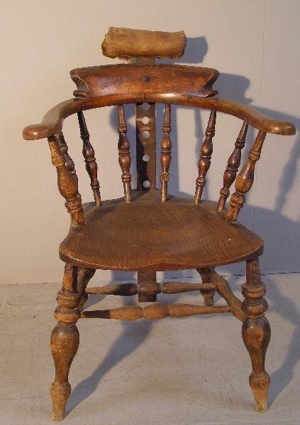 14: 19th century smoker's bow oak chair
