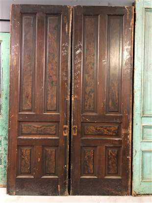 Victorian Pocket Doors- 5 Panel Burlwood Finish