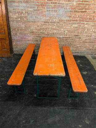 German Beer Garden Folding Table w/ 2  Folding Benches