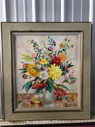 Mid Century Still Life with Flowers