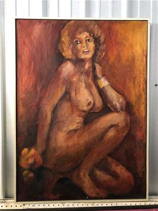 Nude Portrait 1960's Orange