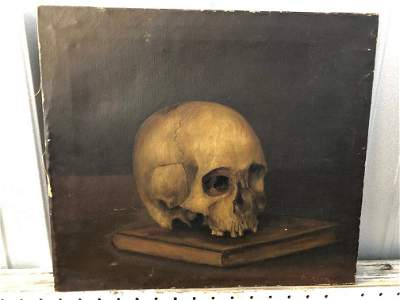 Early 19th C Skull on Book oil on canvas
