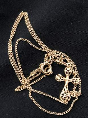 14K GOLD CHAIN AND CROSS