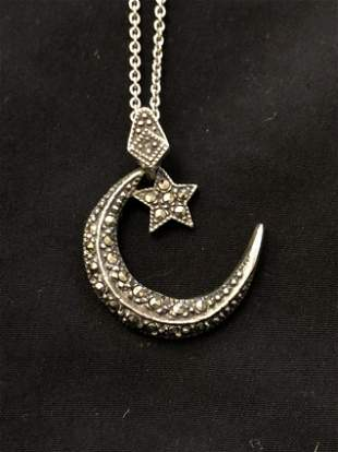 STERLING & MARCASITE STAR & MOON NECKLACE