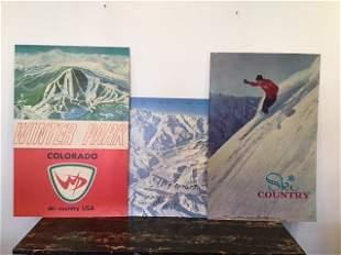 3 Vintage Ski Posters Mid Century