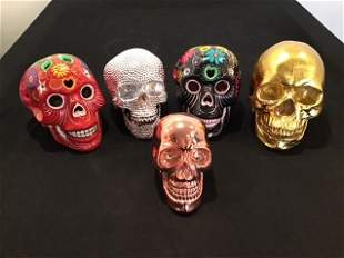 Collection of 5 Skulls Day of Dead