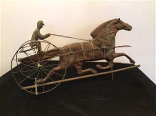 Harness Racing Horse Weathervane Copper