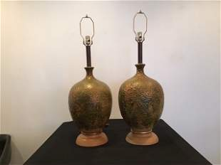 Oversized Pottery Lamps Mid Century