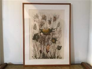 Mid Century Serigraph Signed Floral Art