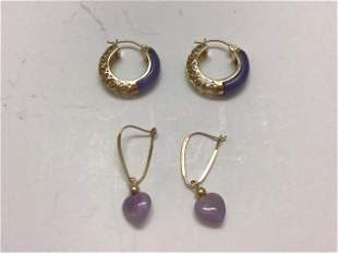 2 pair 14K GOLD EARRINGS