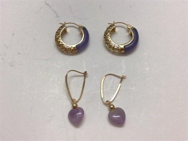 2 pair 14K GOLD EARRINGS