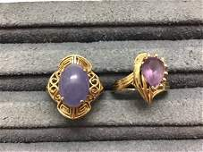 Collection 2 14K GOLD RINGS 1 w Purple Jade