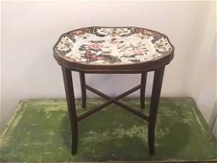 Imperial Stone China Tea Table Macartney Mahogany