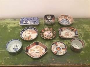 10pc Imari  / Blue White Bowls & Plates