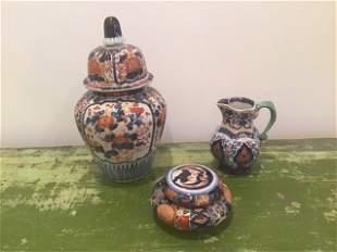 19th C Japanese Imari Lot rare form powder jar