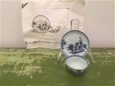 Nanking Cargo Chinese Teacup Saucer blue white