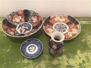 Collection 4 Imari & Blue White Asian Pcs as is