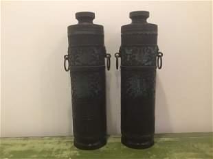 Pair Bronze Cloisonné Urns Tall