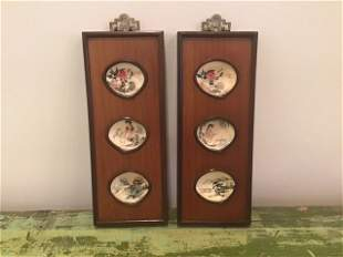 Pair Painted Asian Shell Wall Plaques