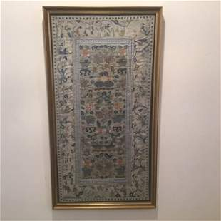 Chinese Embroidered Panel in Frame