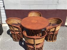 Vintage Mexican Equipale Table & Chairs Dining