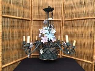 6 arm Tole Flower Basket Chandelier