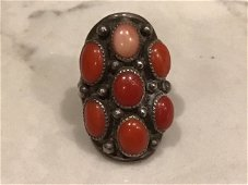 Signed Sterling Coral Ring