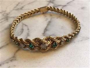 14k Gold Emerald and Diamond Bracelet