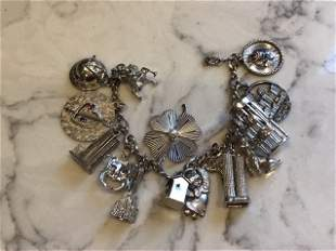 Sterling Silver Charm Bracelet with Moveable NASA,