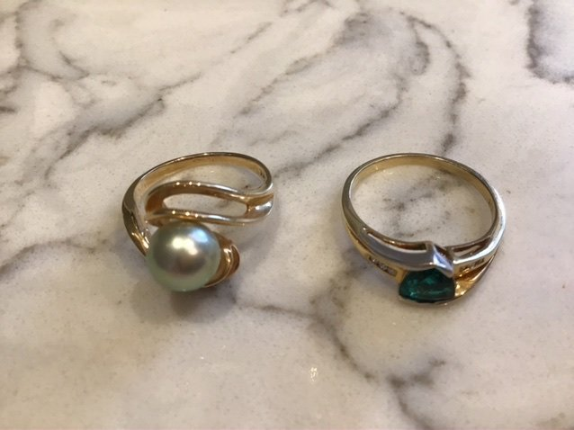 Collection of 14k Gold Rings, Pearl and Diamond