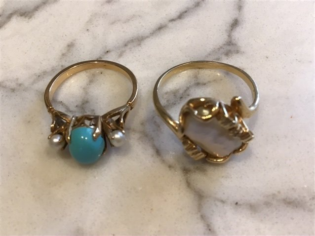 Collection of 14k Gold Rings, Turquoise and Freshwater