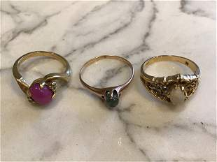 Collection of Gold Rings, Victorian, Moonstone, Star