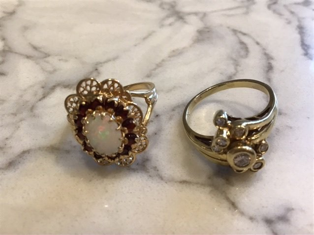 Collection of Gold Rings, Opal and Diamond