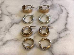 Collection of 14k Gold and Sterling Hoop Earrings