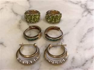 Collection of 14k Gold Hoop Earrings, Diamond, Emerald,