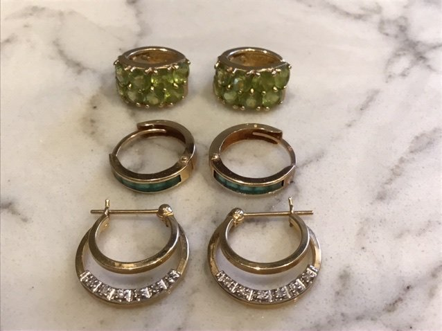 Collection of 14k Gold Hoop Earrings, Diamond, Emerald,