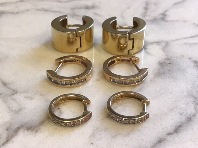 Collection of 14k Gold and Diamond Hoop Earrings
