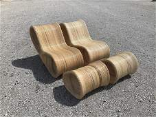 Pencil Reed Lounge Chairs IMO Gabriella Crespi Style
