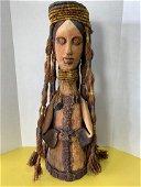 Post Modern Folk Art Terracotta Woman Sculpture