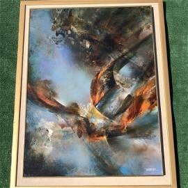 "Signed Leonardo Nierman ""Prophesy"" Oil Painting"