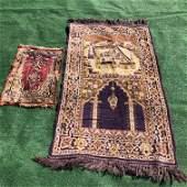 Pair Silk Art Deco Prayer Rugs