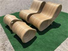 Pr. of French Riviera Pencil Reed Lounge Chairs