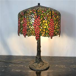 Wisteria Stained Glass Lamp In the Manner of Tiffany