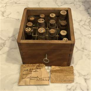 19th c Doctors Apothecary Chest w Bottles American