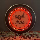 Dixie Neon Advertising Clock Art Deco
