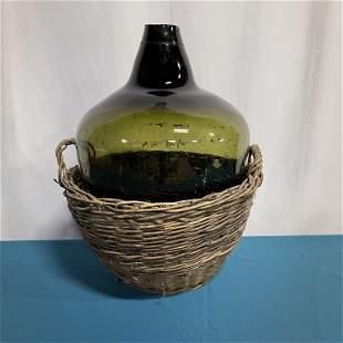 French Demijohn Wine Bottle w Basket Green Glass