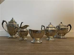 5 Piece Sterling Silver Tea Set 102.96oz Total