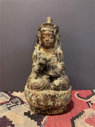 Old Metal Composition Buddha Goddess Statue