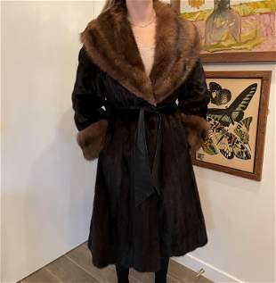 Black Diamond Two Tone Sable Mink Fur Coat