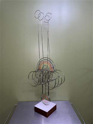 Signed Joseph Burlini Kinetic Rainbow Sculpture